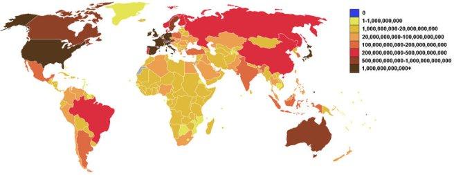 Deuda, mapa mundial