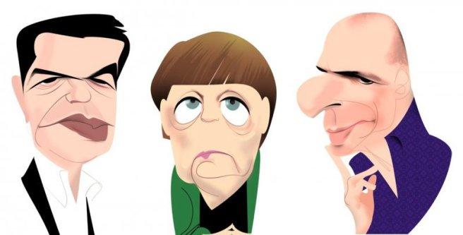 Tsipras, Merkel y Varoufakis